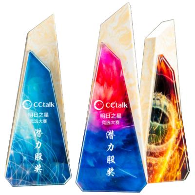 榮譽彩色水晶獎盃