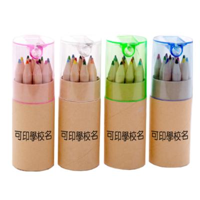 原木桶裝12色木顏色筆