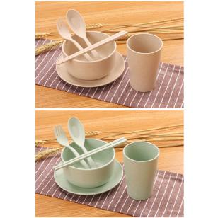 韓式可降解小麥秸稈餐具套裝